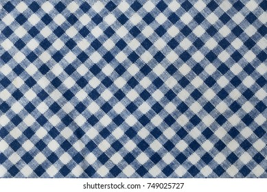 Fabric Texture, Close Up of A Blue and White Lumberjack Plaid Towel or Napkin Pattern Background.