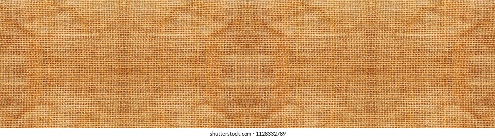 Fabric texture, Close up texture of yellow hessian or fabric pattern in panoramic view use for web design and wallpaper background