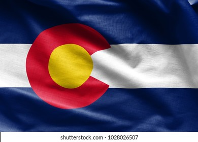 Fabric texture of the Colorado Flag - Flags from the USA