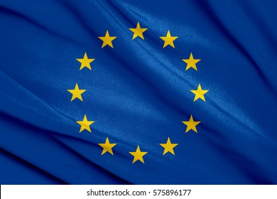 Fabric texture flag of European Union