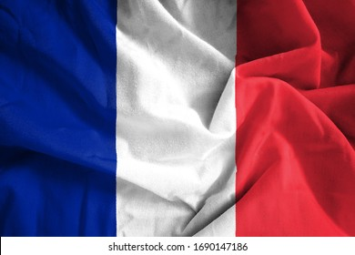 Fabric texture of the flag of France