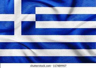 Fabric texture of the flag of Greece