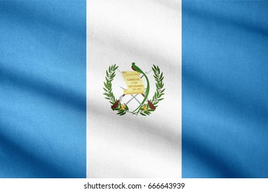 Fabric texture flag of Guatemala