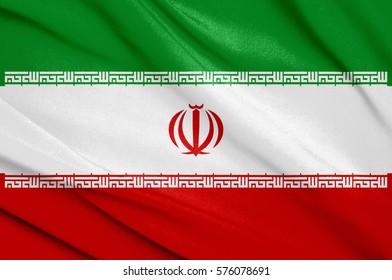 Fabric texture flag of iran