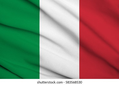 Fabric texture flag of italy