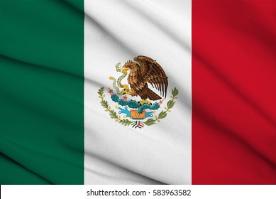 Fabric texture flag of Mexico