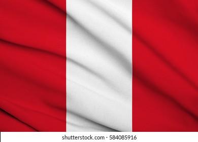 Fabric texture flag of Peru