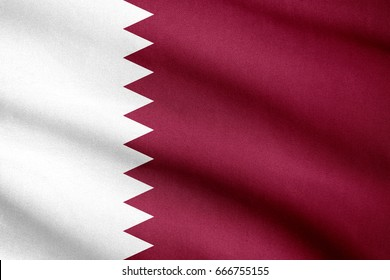 Fabric texture flag of Qatar