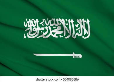 Fabric texture flag of Saudi Arabia