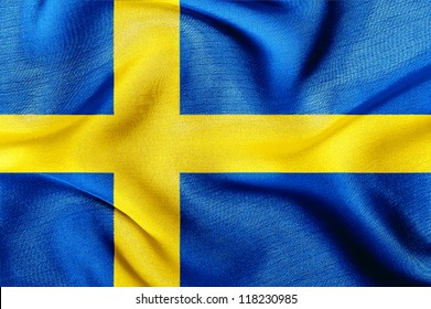 Fabric texture of the flag of Sweden