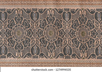 Fabric texture with geometric floral pattern