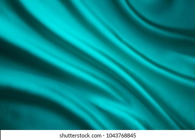 Fabric Waving Silk Background, Teal Satin Cloth Crumpled in Wave Shape