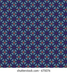 Fabric-like floral pattern on blue