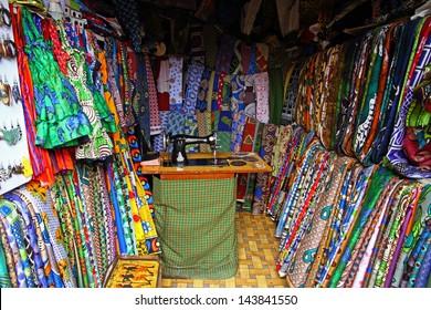 A Fabric/Textile shop in Arusha, Tanzania, Africa