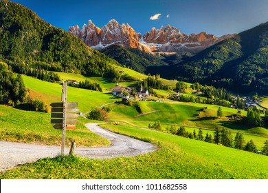 Fabulous best alpine place of the world, Santa Maddalena village with majestic high Dolomites mountains in background, Val di Funes valley, Trentino Alto Adige region, Italy, Europe