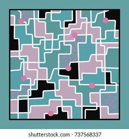 A fabulous and fun print. Abstract geometric swirl silk scarf in pink, turquoise, purple and black.