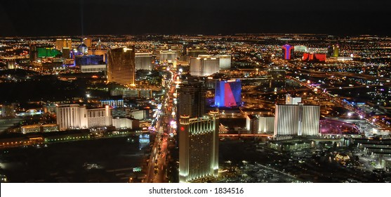 Fabulous Las Vegas by night, view of the Strip from the Stratosphere hotel tower (long exposure)