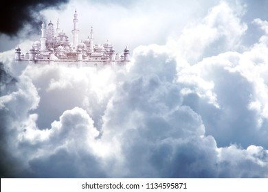 A fabulous lost city in beautiful sky with stormy cumulonimbus. White clouds and sunlight
