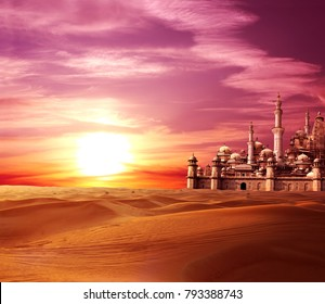 A fabulous lost city in the desert. On beautiful sunset sky background