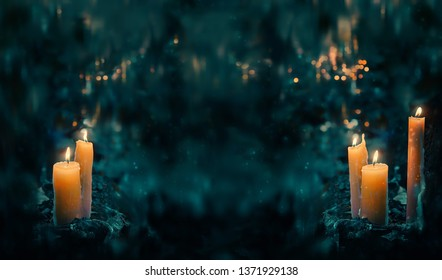 fabulous Night forest and magic candles. mysterious fairy scene. witchcraft ritual. magic fall season Background. Mabon, Halloween holiday concept. copy space