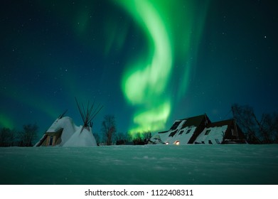 Fabulous Northern Lights in the sky above the Russian Arctic