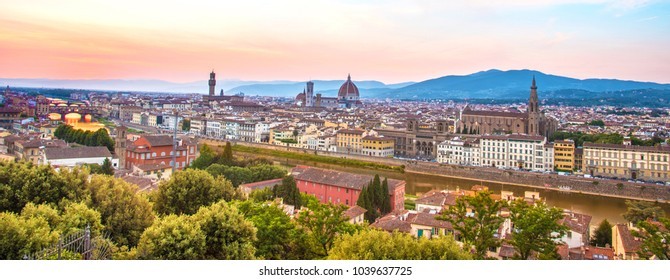 A fabulous panoramic view of Florence from Michelangelo Square at sunset. It is a pilgrimage of tourists and romantics. Duomo Cathedral. Italy, Tuscany