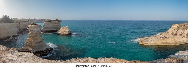Fabulous Puglia coast line whit FARAGLIONI  of S. Andrea