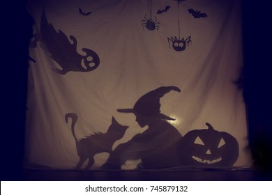 Fabulous shadow little witch of a pumpkin with a cat and a Ghost.The theatre of shadows. . Childhood. A magical story. Halloween.