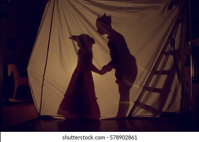 Fabulous shadows little Prince and Princess. Theatre. Childhood.
