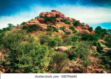 Fabulous unusual mountain landscape fantasy world.  Landscape for PC games in fantasy style: adventures in India Shangri-La, The Jungle Book, Mowgli. Scurb of central Deccan plateau