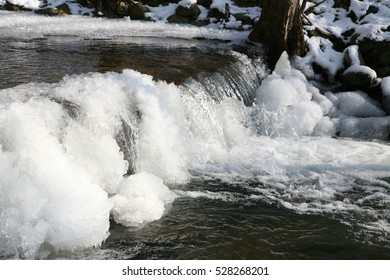 a fabulous view of the frozen winter water flow