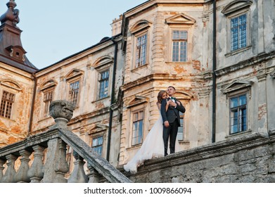 Fabulous wedding couple walking around the castle territory on their festive day.