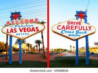 The fabulous Welcome Las Vegas sign from front to back