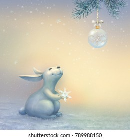Fabulous winter illustration with Bunny. Christmas scene. Digital painting