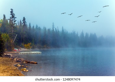 Fabulously beautiful Pyramid Lake. Rocky Mountains, Canada. The morning mist rises beautifully. Flock of migratory birds flies over the lake. The concept of ecological and photo tourism