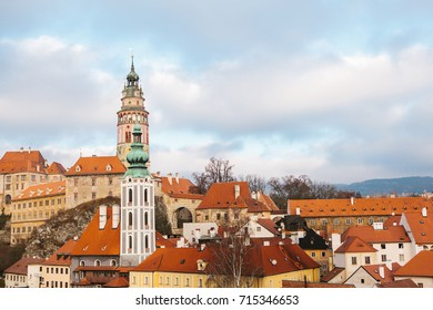 A fabulously beautiful view of the town of Cesky Krumlov in the Czech Republic. Favorite place of tourists from all over the world. One of the most beautiful unusual small cities in the world.