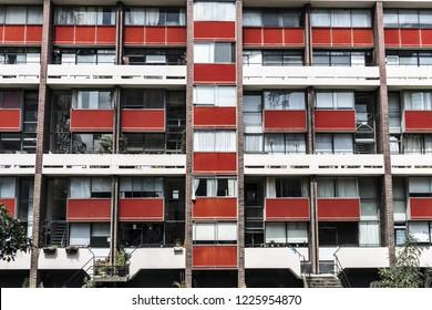 Facade of 1950s Block of Flats in London Council Estate