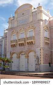 facade of the Adolfo Mejia theater in the city of Cartagena Colombia on January 12, 2021