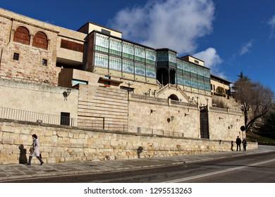 Facade of the Art Nouveau and Art Deco Museum, known as La casa Lis, in Salamanca, Spain