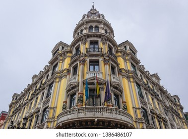 Facade of a bank building in Oviedo, capital city of the Principality of Asturias in northern Spain