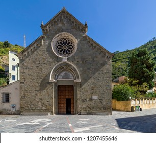 The facade of the beautiful Church of San Lorenzo in Manarola, Cinque Terre, Liguria, Italy