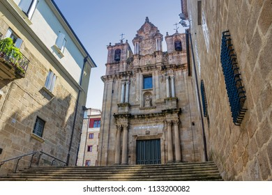 Facade and bell towers of Saint Mary church in Ourense city