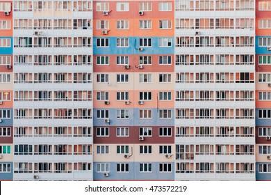 Facade Of A Block Of Flats In Big City