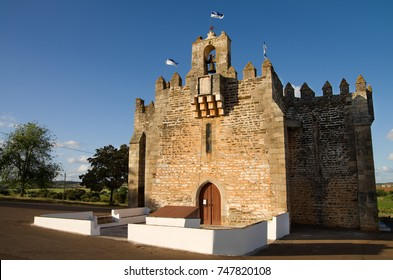Facade of Boa-Nova Chapel or Sanctuary of Nossa Senhora da (Our Lady of) Boa-Nova. A rare case of a fortified church dating of fourteenth century. Terena, Alentejo, Portugal.
