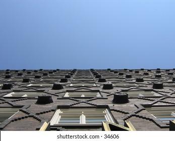 Facade of a brick building.
