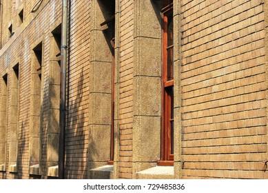 Facade of brick wall building