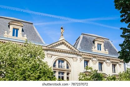 Facade of the building at Place Saint-Germain-des-Pres, Paris, France