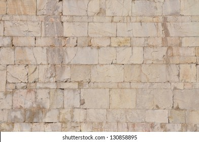 Facade of building, the stone wall background
