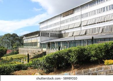 Facade of building of tea factory in Sri Lanka