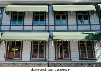 facade of buillding with windows in Lillehammer, Oppland, Norway